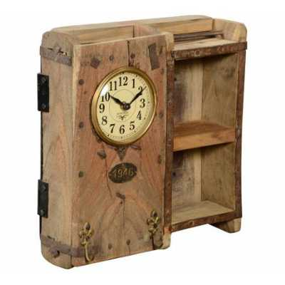 Vintage Style Recycled Wooden Brick Mould Pen Stand Round Dial Clock with 2 Shelves 33x31x11cm