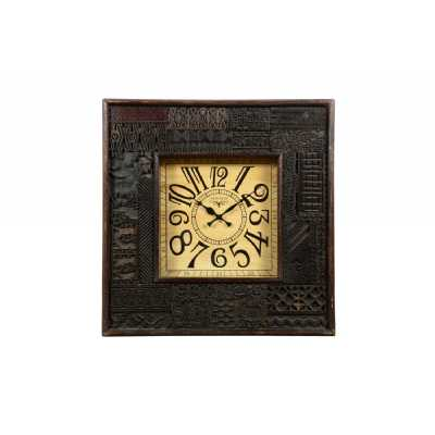 Clocks Square Hand Carved Wooden Clock