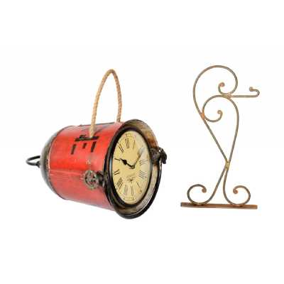 Recycled Realistic Fire Bucket Restored Hanging Clock with Roman Numerals 70x40x37cm