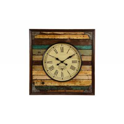 Vintage Style Round Wooden Reclaimed Wall Clock With Coloured Slats In Square Frame 80 x 80cm