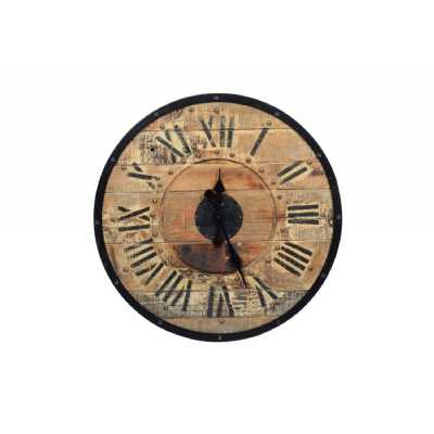 Vintage Style Clocks Teak Wooden Wall Clock With Roman Numerals 61cm Diameter
