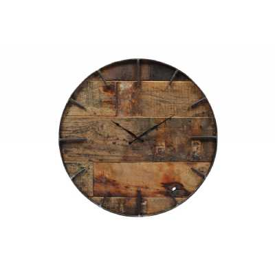 Industrial Distressed Wooden Teak Dial Clock with Round Black Iron Frame 46cm Diameter