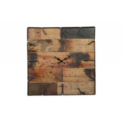 Industrial Distressed Wooden Teak Dial Clock with Square Black Iron Frame of 54x52x5cm