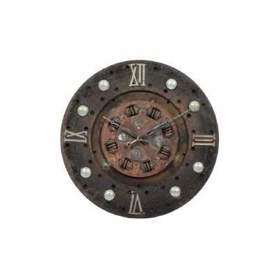 Upcycled Salvage Clutch Plate Round Rustic Brown Iron Wall Hanging Clock with Buttoned Design Frame 36cm Diameter