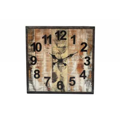 Industrial Wooden Square Brown and Black Distressed Finish Wall Hanging Clock 61x5x61cm