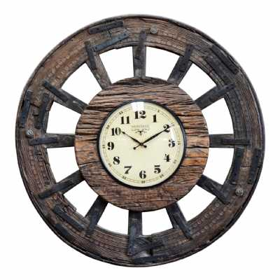 Vintage Style Wooden Round Cart Wheel Themed Wall Clock With Numbers 97cm Diameter