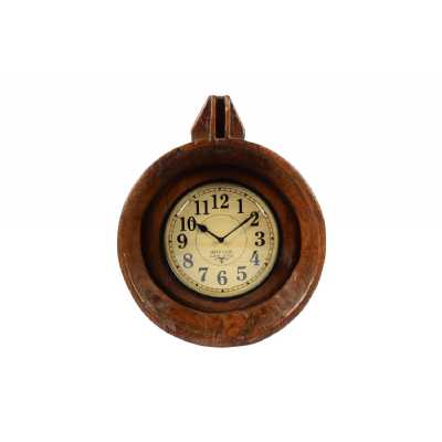 Reclaimed Round Antique Wooden Brown Bowl Roman Numerals Wall Hanging Clock 41x16x50cm