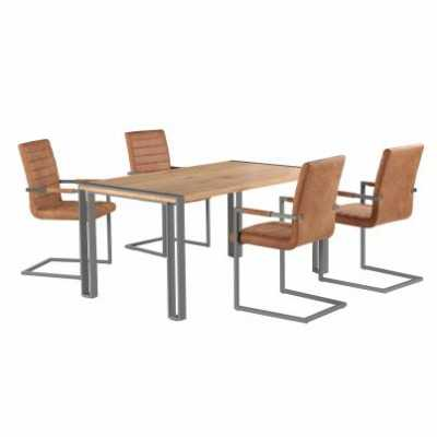 Urban Chic Oak Effect Steel Dining Table and 4 Brown Faux Leather Dining Chair