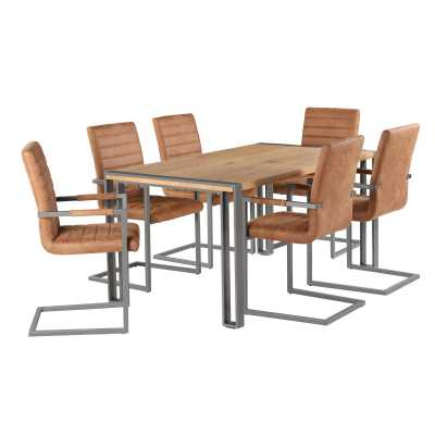 Rectangular Dining Table with 6 Ribbed Tan Brown Leather Dining Chair Steel Frame