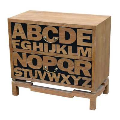 Alphabet 2 Drawer Wooden Chest of Drawers