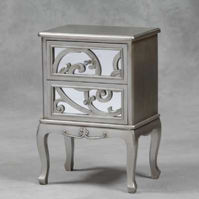 Antique Silver 2 Drawer Rococo Bedside Cabinet
