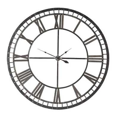 Large Round Ornamental Iron With Wooden Roman Numerals Wall Clock