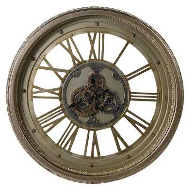 Large Vintage Round Steampunk Antique Cogs Roman Numerals Wall Clock