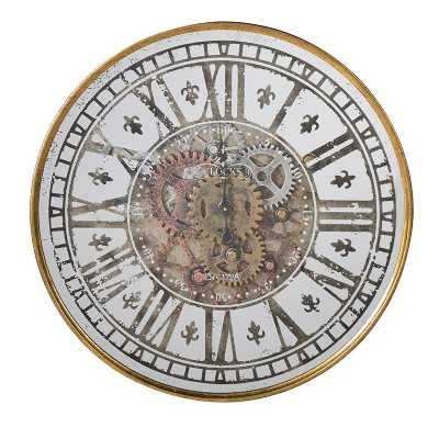 Gold and White Distressed Cogs Round Steampunk Wall Clock