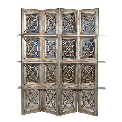 Decorative 4 Fold Mirrored Screen With Shelves