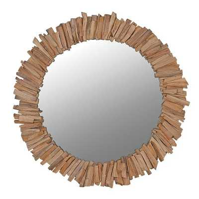 Nature Inspired Modern Large Round 112cm Driftwood Framed Wall Mirror