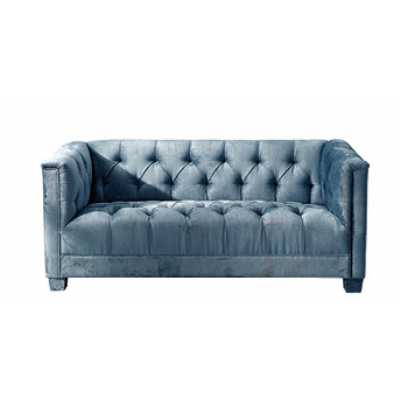 Contemporary Tufted 2 Seater Sofa with Teal Blue Velvet Fabric