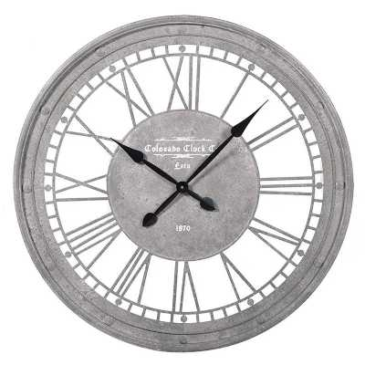 Large Round Metal Roman Numerals Wall Clock Grey Painted Finish London