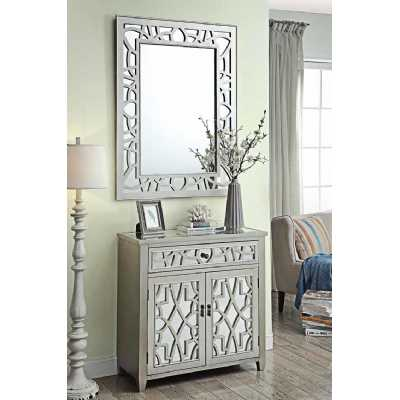 Gallo 2 Door 1 Drawer Storage Chest And Mirror Set Mirror Glass Inset