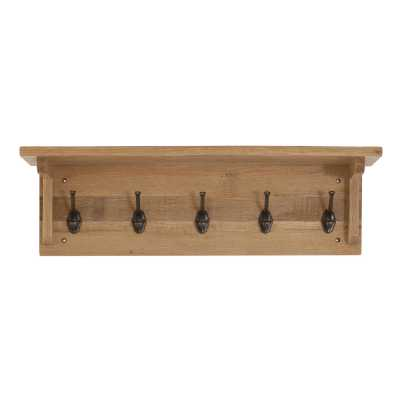 Vancouver Sawn Coat Rack with 5 Hooks
