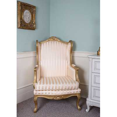 Queen Anne Wingback Armchair Gold Stripe Upholstery with Gold Gilt Frame