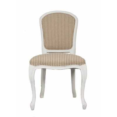 French Chic Annabelle White Dining Chair with Natural Stripe Fabric