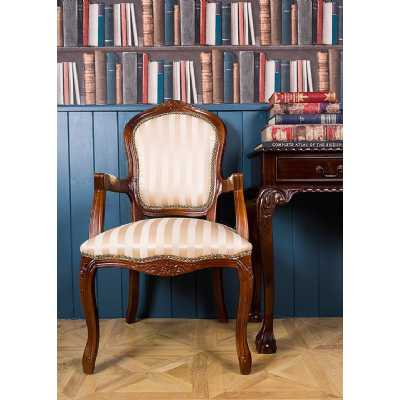 French Louis Armchair Gold Stripe Upholstery with Gilt Gold Frame