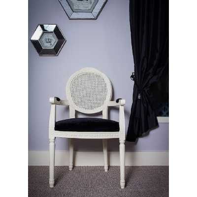 Ivory French Painted Louis Armchair Black Velvet Seating with Rattan Back