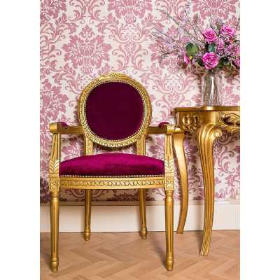 French Period Louis Red Velvet Side Chair with Gold Wooden Frame