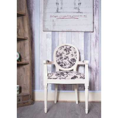 Ivory French Painted Louis Armchair Birds Floral Seating with Round Back