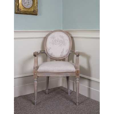 Oak French Louis Armchair Round Back Beige Floral Upholstery
