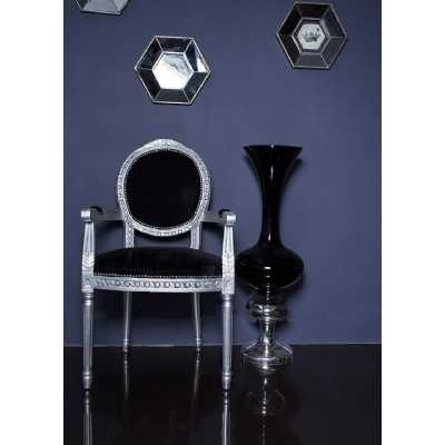 French Period Louis Round Back Silver Armchair with Black Velvet