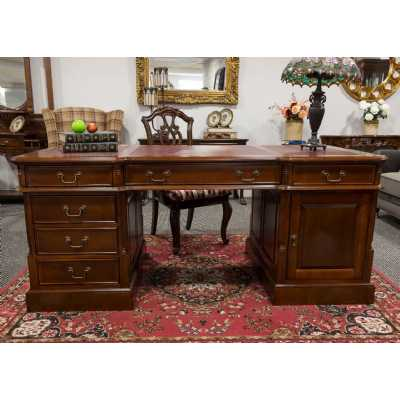 Beech Wood Partners Desk Large Twin Pedestal Home Office Furniture