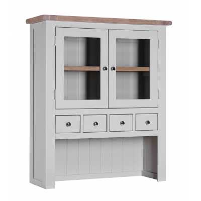 Medium Chalked Oak And Light Grey Painted 4 Drawer 2 Door Hutch