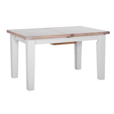 Medium Chalked Oak and Light Grey Painted Extendable Dining Table