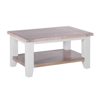 Small Chalked Oak Top Grey Painted Rectangular Coffee Table with Shelf