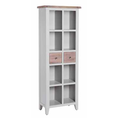 Tall Slim Chalked Oak Painted Light Grey 2 Drawer Bookcase 8 Section