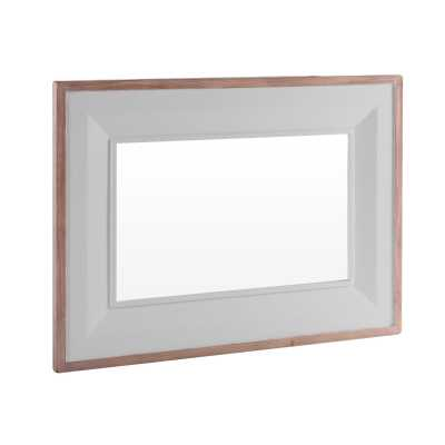 Large Chalked Oak and Light Grey Painted Rectangular Wall Mirror