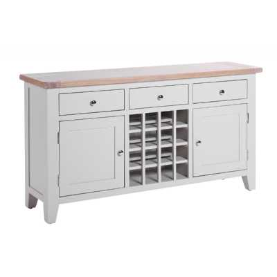 Large Chalked Oak Light Grey Painted Sideboard 3 Drawer with Wine Rack