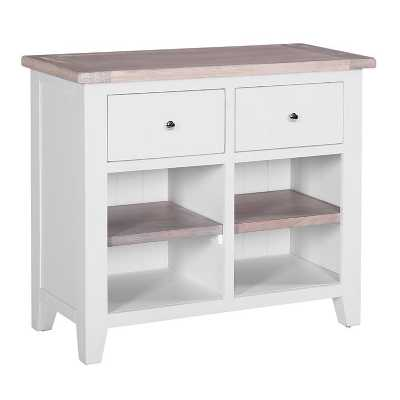 Chalked Oak And Light Grey Buffet with 2 Drawers And 2 Shelves