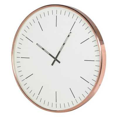 Large Minimalistic Round Copper Framed Wall Clock in a Modern Design