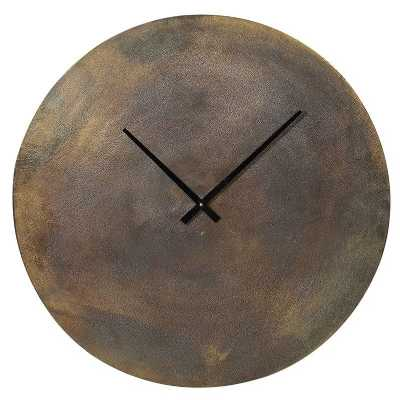 Modern Funky Large Round Mars Antique Brass Wall Clock with No Figures