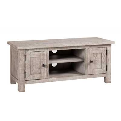 Vancouver Sawn Weathered Grey Finish 2 Door TV Media Unit with Shelf