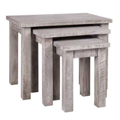 Vancouver Sawn Weathered Grey Solid Oak Rustic Stackable Nest of 3 Tables
