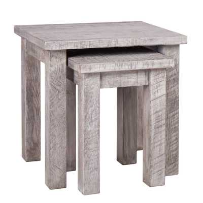 Vancouver Sawn Weathered Grey Solid Oak Rustic Stackable Nest of 2 Tables