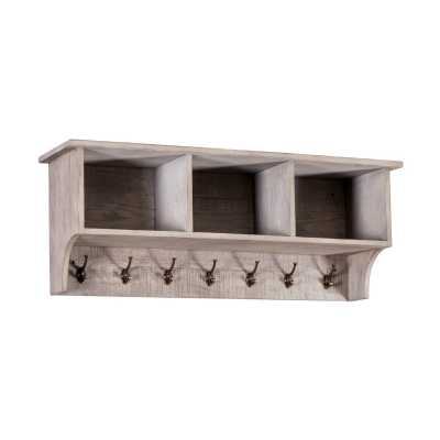 Vancouver Sawn Weathered Grey Finish Solid Oak Coat Rack with Shelves