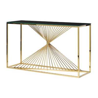 Contemporary Modern Gold and Black Twisted Console Table