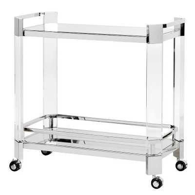 Modern Clear Acrylic and Mirrored Bar Cart Serving Trolley On Wheels