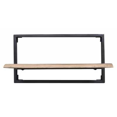 Arkwright Industrial Collection Industrial Style Iron And Wood Framed Living Room Shelf 35 x 65cm