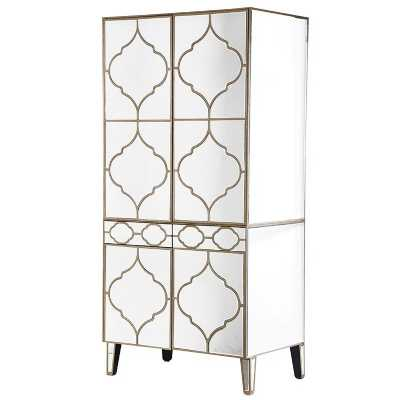 Venetian Moroccan Mirrored Glass Wardrobe with Champagne Gold Trim
